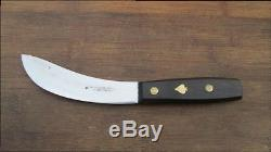 RARE Vintage F. HERDER Germany Carbon Steel Skinning Hunting Knife withSpade Inlay