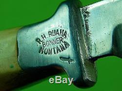 RARE Vintage US Custom Hand Made RUANA 2 Pins Hunting Little Knife Stamp Sheath