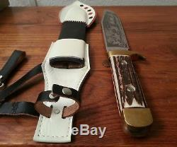 RARE Vintage XX L Solingen Germany Bowie Knife Stag bone hunting fighting withcase