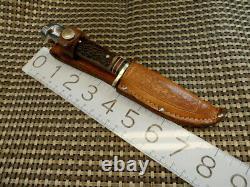 RARE WESTERN 648B USA 1965-75 HUNTING KNIFE & CASE VINTAGE 7 Jig Bone Stag Type