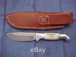 RUANA 6 BD DROP POINT SKINNER HUNTING KNIFE with SHEATH BONNER MONTANA HAND MADE