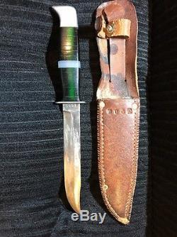 Rare 1940's BUCK Knife Fixed Blade Custom + Original Sheath decoy bait lure hunt