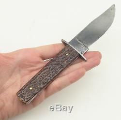 Rare Camillus 4 Line Stamp Jigged Bone Handle Outers Camp Hunting Sheath Knife