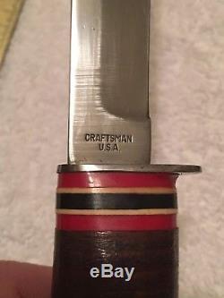 Rare HTF Craftsman USA Fixed Blade Hunting Knife w Leather Sheath NR 8 1/2 blade