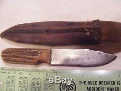 Rare NAMED M. S. A. CO. GLADSTONE MICH. U. S. A. MARBLES DALL DEWEESE Pattern Knife