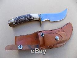 Rare Vintage Clyde Fischer Custom YO Skinner Stag Handle Hunting Knife