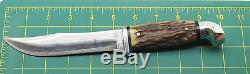 Rare Vintage Kinfolks USA Flame Edge Super Hunter 568 TC Stag Hunting Knife