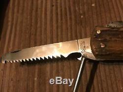 Rare Vintage Pre 1964 Puma 959 Jagdmesser Hunting Stag Handles Knife Used