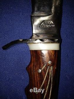 Ray Johnson Custom Made Handmade Hunting Fixed Blade Bowie Knife with Sheath
