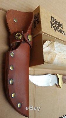 Rigid Skinner R-7 knife vintage hunting w sheath & box factory edge rare & NICE