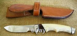 Ruffin Johnson Custom El Lobo Solo Model #5 Fixed Blade Hunting Knife, Stag
