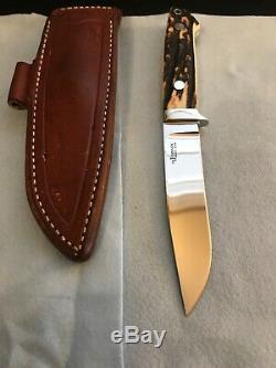 S. R. JOHNSON Custom Stag 5 Blade Utility Hunter Knife-Loveless Partner-1971-74