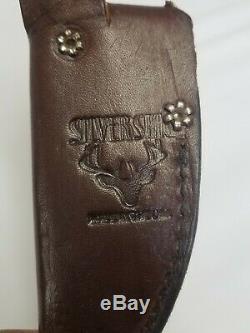 Silver Stag Skinner Knife w Deer Elk antler handle and leather sheath NWTF SE