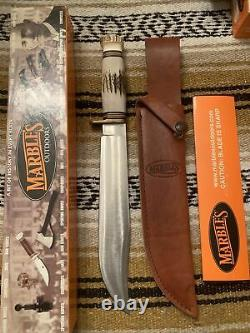 Stag on Stag Marbles USA Trailmaker Bowie Survival Hunting Knife With Case/ Box