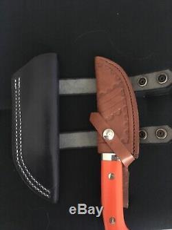 Steve Voorhis Custom Drop Point Knife orange micarta TWO Sheaths