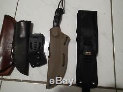 TOPS Black Micarta TEX CREEK XL Fixed Blade Hunting Knife, multi Sheaths