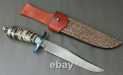 Todd Kopp DAMASCUS Mammoth Tooth Custom Bowie Fossil Handmade Knife Rare vtg