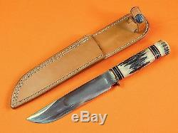US 1999 Custom Hand Made R. J. YOUNG Marbles Style Hunting Fighting Knife Sheath