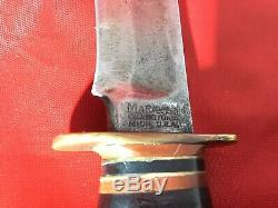 VINTAGE 40S MARBLES IDEAL HUNTING SKINNING BOWIE KNIFE With BAKELITE POMMEL