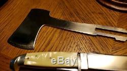 VINTAGE COAST CUTLERY CO cracked ice HATCHET AXE KNIFE COMBO SET WITH SHEATH