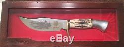 VINTAGE COLEMAN WESTERN WESTMARK STAG HANDLE 701 Hunting Knife In Wooden Case