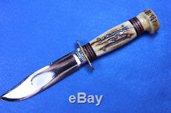 VINTAGE MARBLES GLADSTONE, MICH. STAG FOUR BRASS PINS HUNTING KNIFE with SHEATH