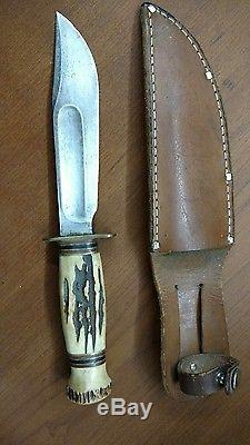 Vintage Marbles Stag Horn Fixed Blade Hunting Knife Gladstone Mi. Mich. Estate
