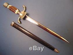 VINTAGE POST WW2 GERMAN HUNTING DAGGER KNIFE EDGE BRAND SOLINGEN WithORIG CASE