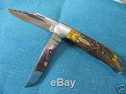 Vintage Stag Case Knife Long Tail C Folding Hunter 1920-1940 Near Mint