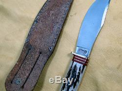 VTG MARBLES HUNTING KNIFE Gladstone 4.5 FIXED BLADE withLEATHER SHEATH Excel Cond
