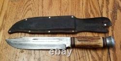 VTG RARE Solingen Cutlery B. Svoboda Germany Large Stag Handle Bowie Knife
