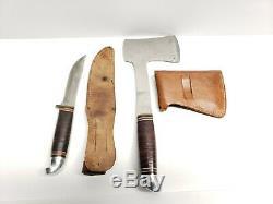 Vinatge Western Boulder Colorado Hunting Knife Axe Hatchet Set with Sheath