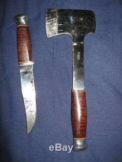 Vintage 1950'S Kinfolks Ax & Knife Combination With Fancy Tooled Leather Sheaths