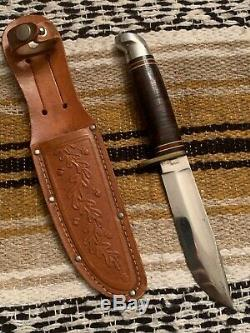 Vintage 1960s Western USA L46-5 Bowie Hunting Fishing Survival Knife withSheath
