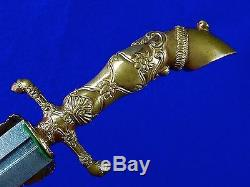 Vintage Antique Old Hungarian Hungary Damascus Hunting Dagger Knife with Scabbard