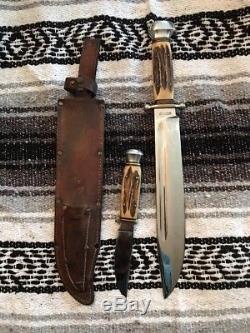 Vintage Anton Wingen Jr Othello Solingen German Stag Hunting Double Knife Set