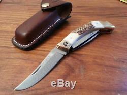 Vintage Browning folding hunter knife Stag Big Game hunting buck skinner withcase