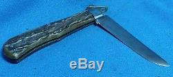 Vintage Bull Head Large Lockable Hunting Folder Stag Pocket Knife