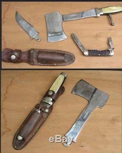 Vintage CASE XX USA HUNTING KNIFE & HATCHET / AXE & JACK KNIFE SET