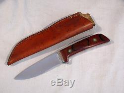 Vintage CHUBBY HUESKE CUSTOM MADE HUNTING KNIFE #618 WITH SHEATH