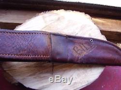 Vintage Case Stag Handled Big Hunting Knife With Original Leather Sheath