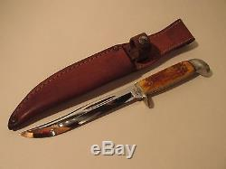 Vintage Case XX U. S. A. Red Bone Handled Fixed Blade UNUSED Hunting Knife/Sheath
