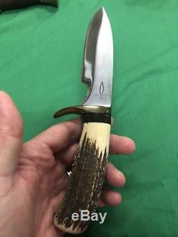 Vintage Clyde Fischer Handmade Custom stag Fixed Blade hunting knife YO Ranch