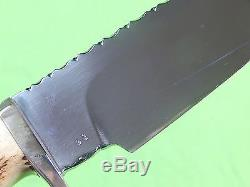 Vintage Custom Hand Made R. J. Kessnick Norwood OH Stag Hunting Knife & Sheath