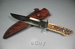 Vintage Custom Hand Made Rick GENOVESE Stag Handle Bowie Knife. Rare. Nice! LOOK