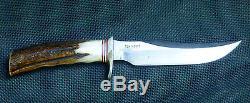 Vintage Custom Handmade RANDALL 12 Little Bear Bowie Hunting Knife Stag Grip USA