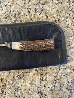 Vintage Custom LILE Handmade Stag Knife, Model 19, Made In 1995, with Pouch
