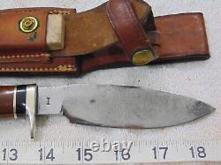 Vintage Custom RALPH BONE Fixed Blade Hunting Knife & JOHNSON'S LEATHER SHEATH
