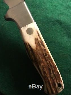 Vintage Custom Stag Gary Sampietro Handmade Knife Trout Creek MT Hunting Mint