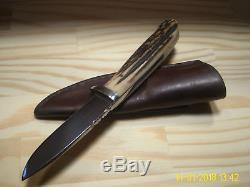 Vintage Custom Steve Brooks Loveless Style Stag Drop Point Hunting Knife